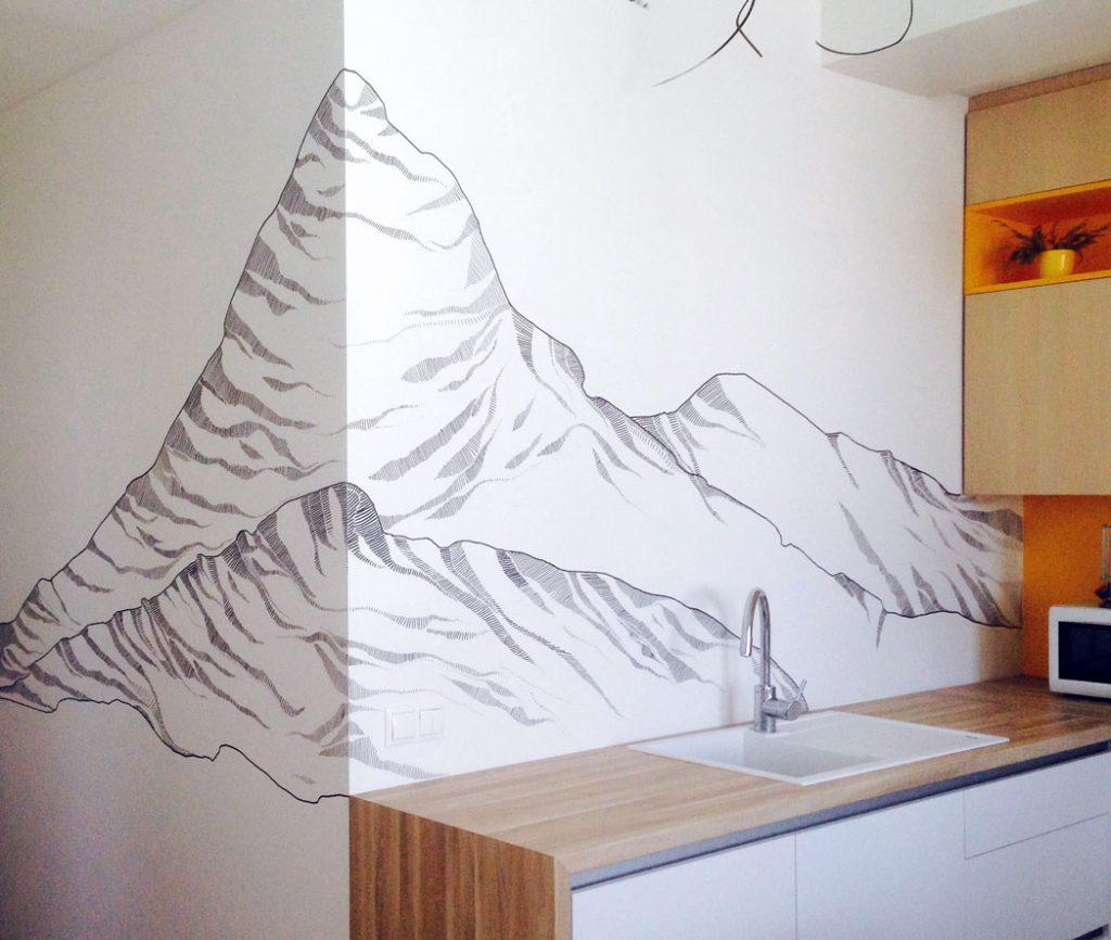Kuchynská zástena vrchole hôr 106