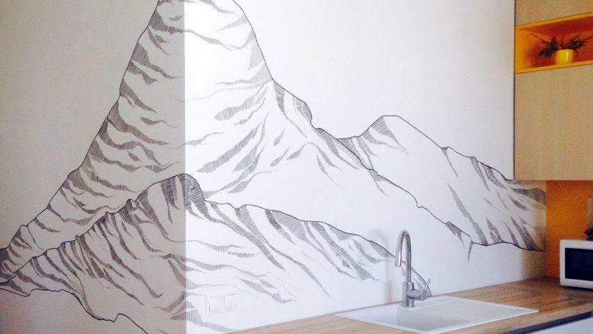 Kuchynská zástena vrchole hôr 104