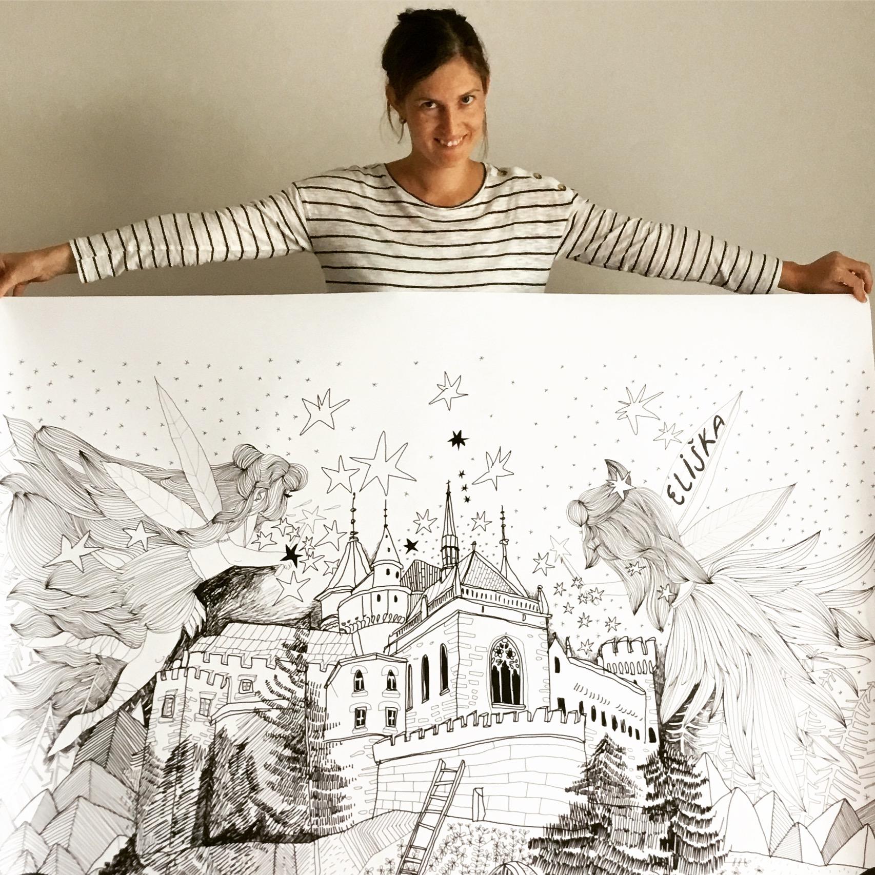 Samonalepovacia obrazová tapeta víly na zámku