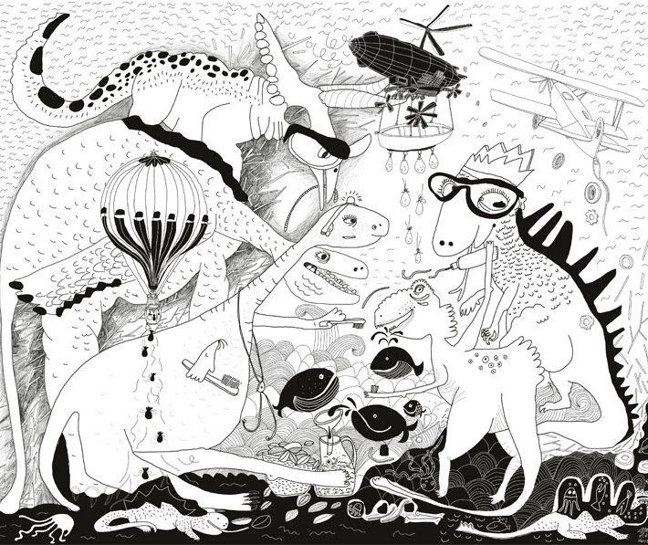 Maľovaná stena Chrobáky a dinosaury 31