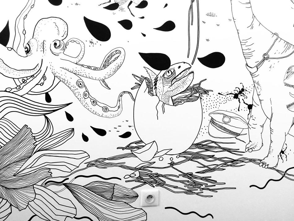 Maľovaná stena Chrobáky a dinosaury 4