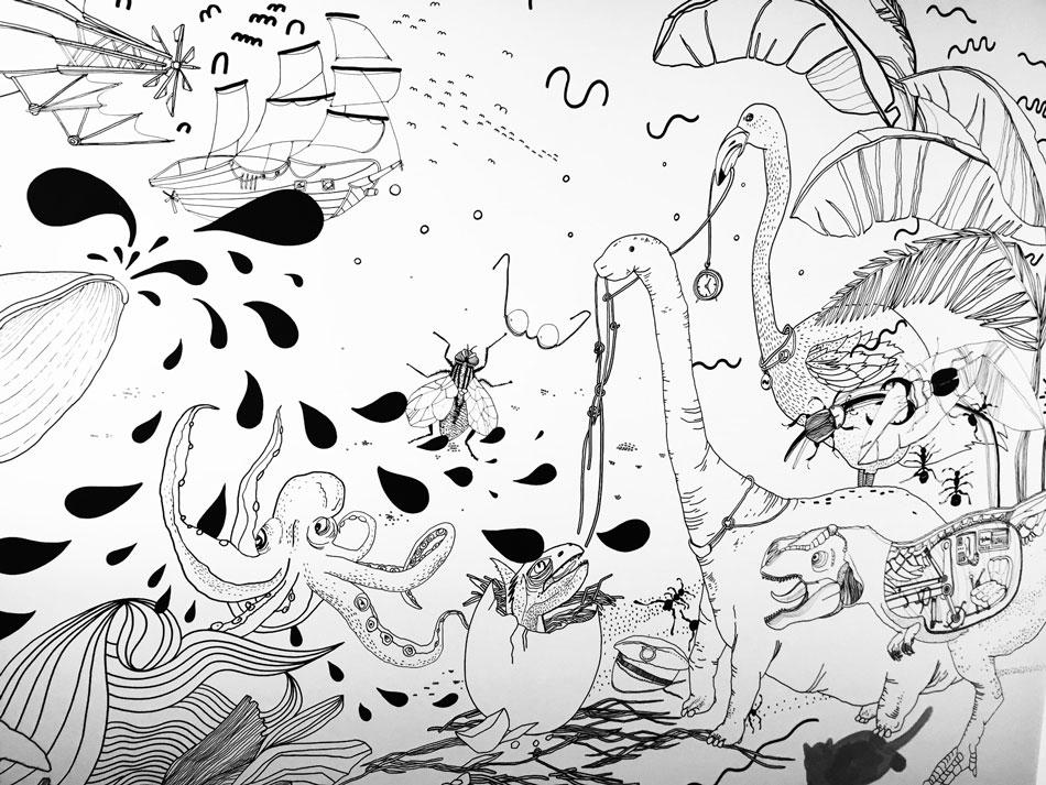 Maľovaná stena Chrobáky a dinosaury 2