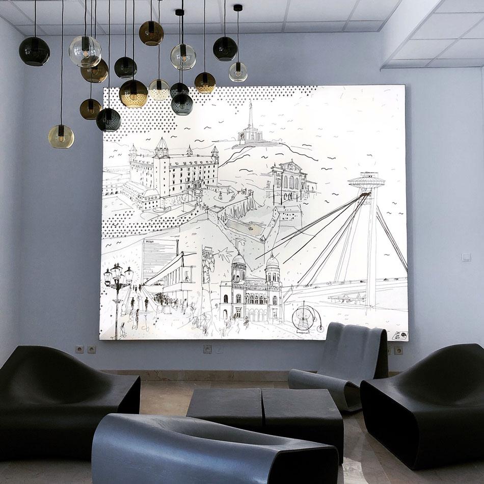 Podsvietený obraz Bratislavy - Vstupná hala v Apollo IV 18