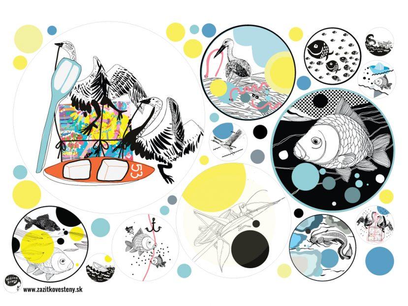 Kolekcia SLADKOVODNÉ RYBY - kruhové samolepky na steny 1