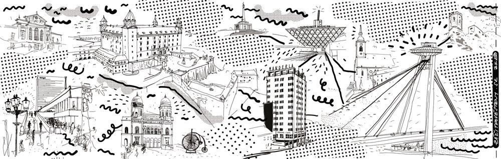 Ilustrácia Bratislavy - porcelánová cestovná šálka 9