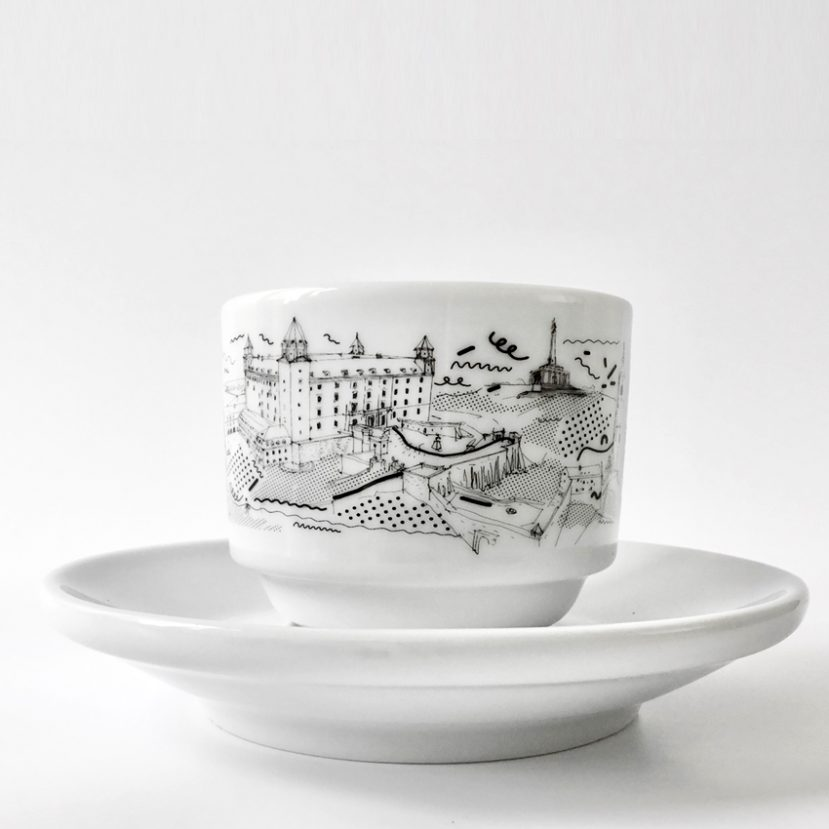 Ilustrácia Bratislavy - porcelánová šálka 3