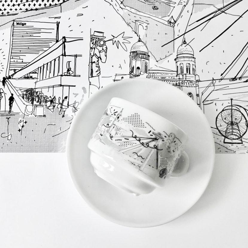 Ilustrácia Bratislavy - porcelánová šálka 5